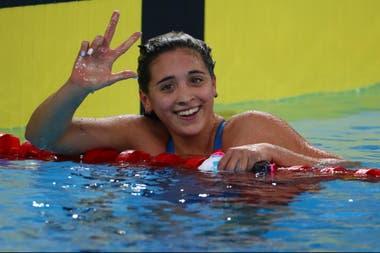 Tres, sí: en su mayor especialidad, los 1500 metros libre, Delfina Pignatiello obtuvo una tercera medalla dorada en los Panamericanos.