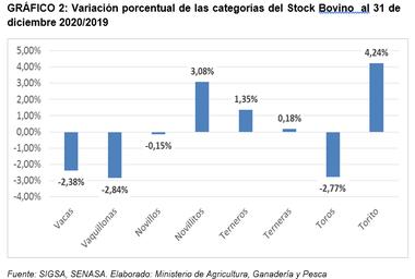 Variación del stock por categorías