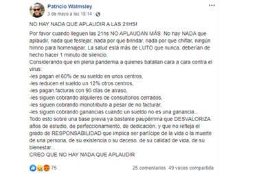 El posteo de Patricio Walmsley, el enfermero que murió en el accidente aéreo de Esquel, y un reclamo por la situación de los médicos