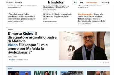 El diario italiano La Repubblica recordó a Quino con un destacado en su portada web