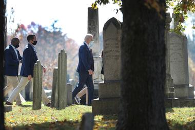 El presidente electo Joe Biden llega a St. Joseph en la Iglesia Católica Romana Brandywine para la misa dominical el 8 de noviembre de 2020 en Wilmington, Delaware