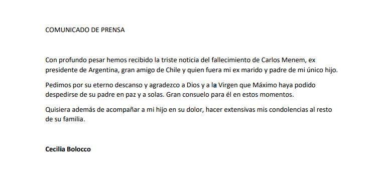 """A pesar de sus diferencias, el mensaje de Cecilia Bolocco, tras la muerte de Carlos Menem: """"Pedimos por su eterno descanso"""""""